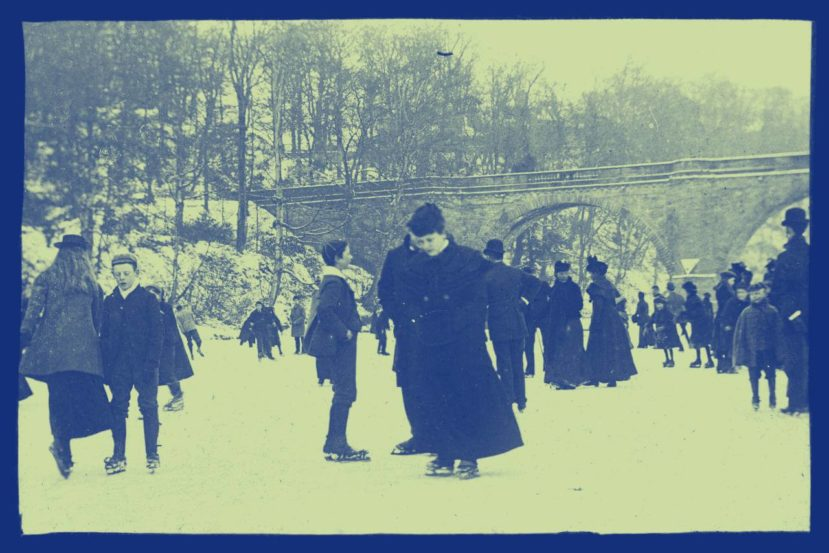 Ice skating on a frozen river ca 1900 duotone 829x553 - Atmen in Falten